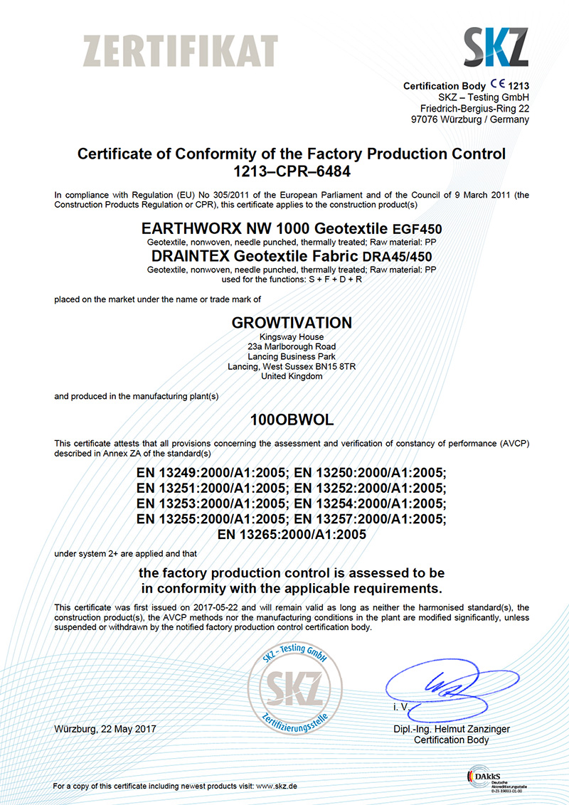 Fpc Certificate 1213 Cpr 6484 Draintex Earthworx Nw1000